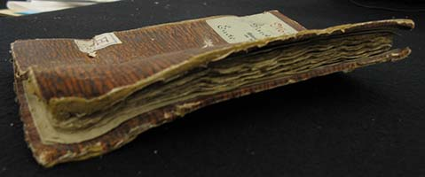 The remains of a Cologne M�nzwardein book from the 15th century.