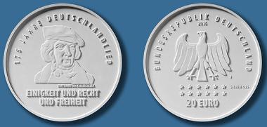 20 Euro Gedenkmünze 175 Jahre Deutschlandlied Archiv Münzenwoche