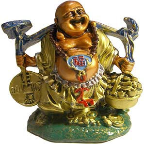 Budai or Hotei holding a beggar?s sack full with silver shoe money. Photo: MoneyMuseum Zurich.