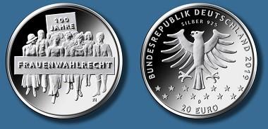 Deutsche 20 Euro Gedenkmünze 100 Jahre Frauenwahlrecht Archiv