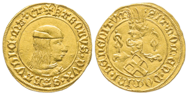 Nr. 1460: Carlo I., 1482-1490. Ducato d'oro, Typ II, Turin. Aus The Stack Collection of Italian Renaissance Coins. Unpubliziert. Wahrscheinlich unik. Vorzüglich. Taxe: 50.000,- Euro.
