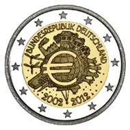 2 Euro Gedenkmünze 10 Jahre Euro Bargeld Der Bundesrepublik