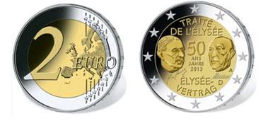 Gemeinsame Deutsch Französische 2 Euro Münze 50 Jahre élysée